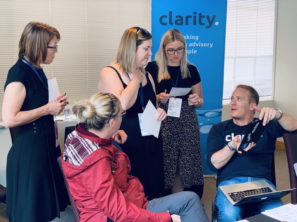 CEO Aynsley demoing Clarity